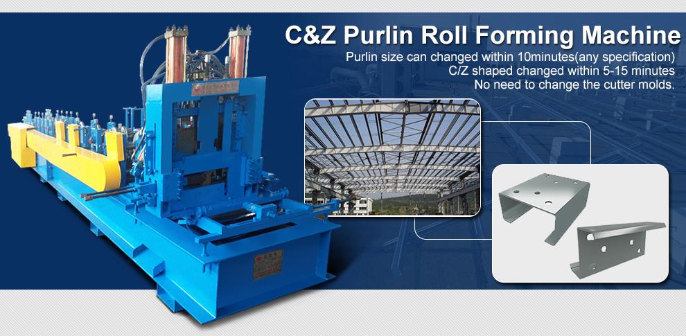 C/Z interchangeable purlin roll forming machine