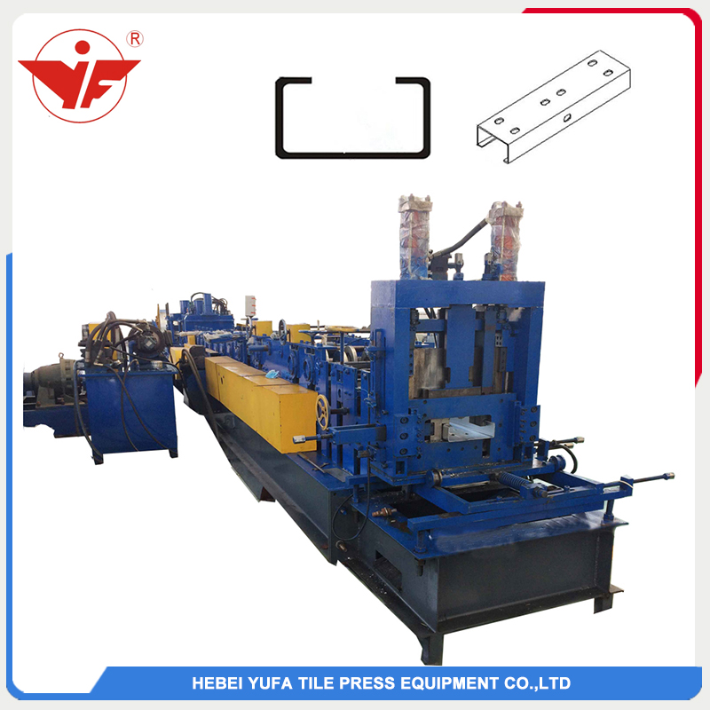 Automatic hydraulic cutting size interchangeable C purlin machine